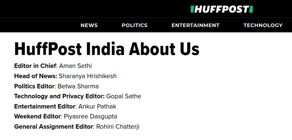 Huffington Post Staff Rohini Chatterji Piyasree Dasgupta Ankur Pathak Gopal Sathe Betwa Sharma Sharanya Hrishikesh Aman Sethi