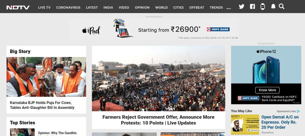 NDTV - 3 ads