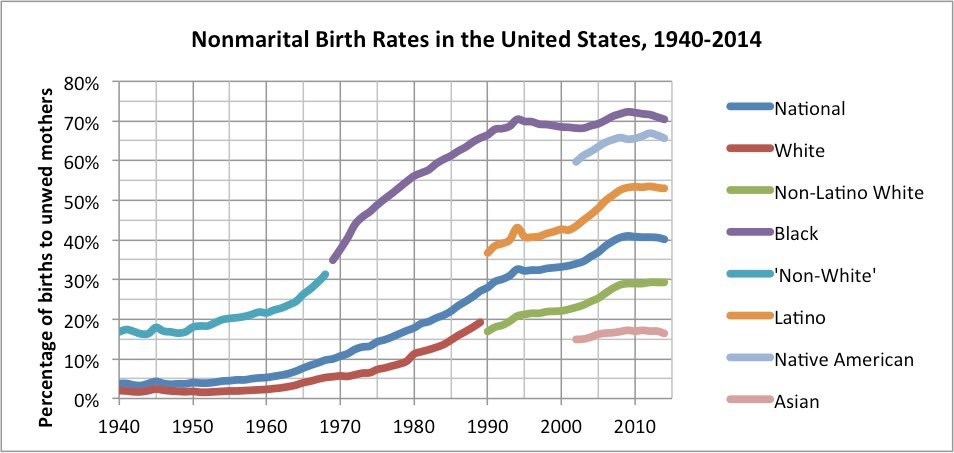 Nonmarital birth rates in the USA