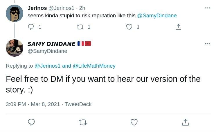 Samy Dindande Hypefury asking people to DM him