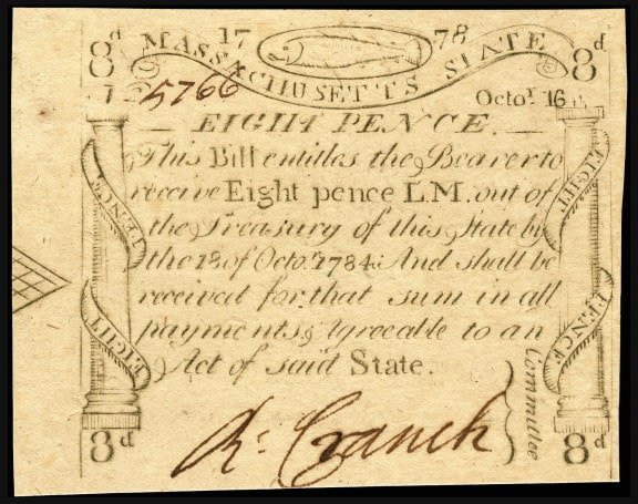 An eight pence note in Massachusetts state currency