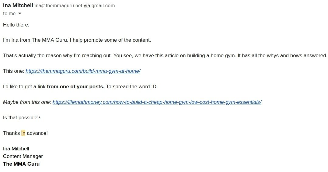 Example of a bad favour request email